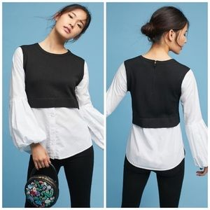 Anthropologie black moth poplin layered blouse